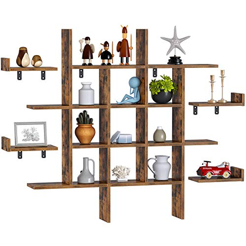 Rolanstar Floating Shelves, Wall Mounted 4 Cube Intersecting Floating Shelf Set for Decor and Storage for Living...