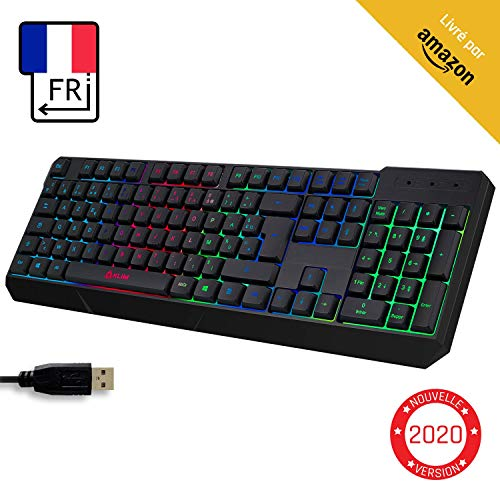 KLIM™ Chroma Clavier Gamer AZERTY FR + Durable, Ergonomique, Discret, Waterproof, Touches Silencieuses, USB + Clavier Filaire Rétroéclairé LED pour PC Gaming PS4 Mac + Nouvelle Version 2020 + Noir