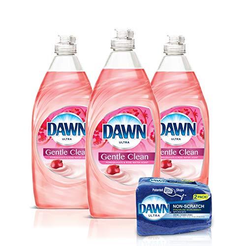 Dawn Gentle Clean Liquid Dish Soap (3x24oz) + Non-Scratch Sponge (2 Count), Pomegranate & Rose Water, 1 Set