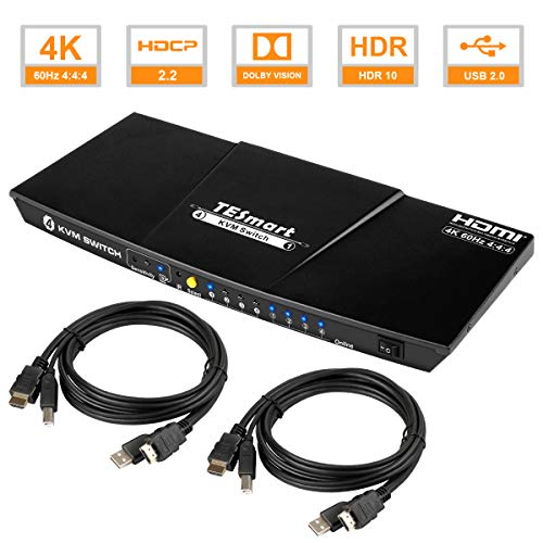 TESmart 4 Ports HDMI KVM Switch 4K@60Hz 4:4:4 Ultra HD | 4x1 KVM Switcher 4 in 1 Out mit 2 Stck. 1,5 m KVM-Kabeln Unterstützt USB 2.0-Geräte Steuerung von bis zu 4 Computern/Servern/DVR-Mattschwarz
