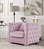 Iconic Home Christophe Club Chair Velvet Upholstered Button Tufted Nailhead Trim Shelter Arm Design Silver Tone Metal Block Legs Modern Transitional, Pink