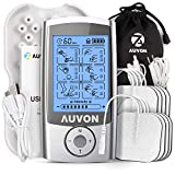 AUVON Rechargeable TENS Unit Muscle Stimulator, 3rd Gen 16 Modes TENS Machine with 8pcs 2'x2' Premium Electrode Pads (American Gel ) for Pain Relief