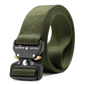 """Fairwin Tactical Belt, Military Style Webbing Riggers Web Belt with Heavy-Duty Quick-Release Metal Buckle (Green, M 36""""-42"""")"""
