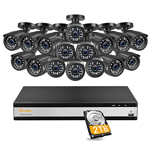 Anlapus Kit de DVR de vigilancia de 16 canales 1080p, 16 canales H.265 + DVR con disco duro de 2 TB y cámara de seguridad externa 16x 2MP, visión nocturna de 20M, detección de movimiento, acceso remoto