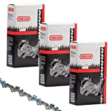 Chainsaw Replacement Chain 14' (3 Pack) 52 Drive Link 3/8' Low Profile .050' Gauge - Fits Mulitple Brands & Models