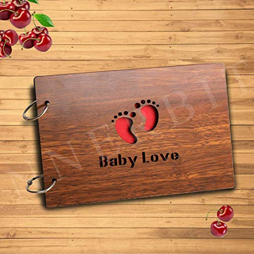 innerbit® Baby Love Artistic Wooden Photo Album Scrapbook 30 pages - Album Size (22 cm x 15 cm) - Photo Size 4x6 5x7 - Baby Shower Gift For Pregnant Women, Maternity Gift, Baby Album, Baby Scrap Books for Memories, Album for Photos Collection