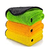 AIVS 850GSM Microfiber Cleaning Cloths, Lint Free Microfiber Dual Layer Ultra-Thick Car Polishing and Drying Cloth Auto Detailing Towels,15' x 17.7'(3-Pack)