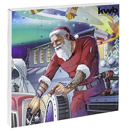 KWB 370139 Calendario dell'Avvento, edizione 2019, calendario natalizio originale per uomini, calendario con utensili di qualità, con custodia, grafica
