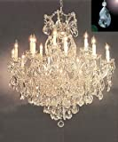 """Maria Theresa Crystal Chandelier Lighting Chandeliers Dressed with Diamond Cut Crystal! H 38' W 37"""" - Finish: Matte Silver"""