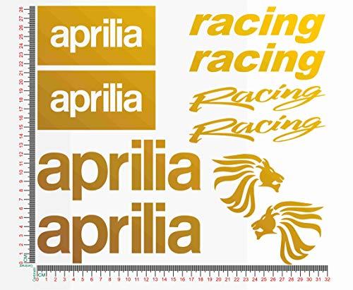 Kit Adesivi stickers compatibile aprilia racing kit 2 moto decal cod.1092 (091 ORO)