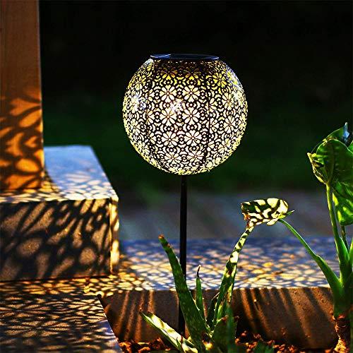 Solar laterne Gartenlicht Outdoor Solarleuchten Garten Deko solarlampen für außen Terrasse Dekorative Metall Kunst Garten Zubehör Outdoor Dekorationen für Veranda Pathway und Hof Weihnachten (Ball)