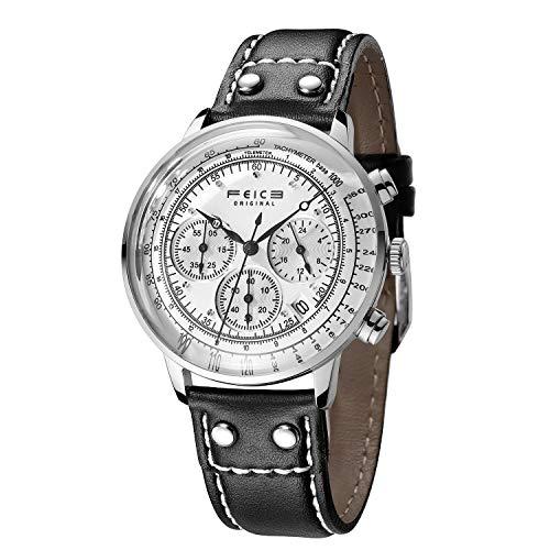 FEICE Armbanduhr Herren Japanisches Quarzwerk Analog Multifunktionsuhr mit Leder Armband