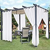 LORDTEX Waterproof Indoor/Outdoor Curtains for Patio - Thermal Insulated, Sun Blocking Detachable Sticky Tab Top Blackout Curtains for Bedroom, Porch, Pergola, Cabana, 52 x 95 inch, 2 Panels, White