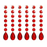 Poproo Teardrop Pendants Octagon Crystal Glass Beads Pendant for Chandelier Lamp Curtain Decor, 6-Pack (Red)