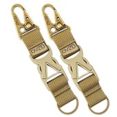DYZD Tactical Gear Keychain Clip 100% Nylon Belt Key Chain Tactical Key Holder Quick Release Buckle Key Ring Outdoor Keychain (Pack of 2 Khaki)