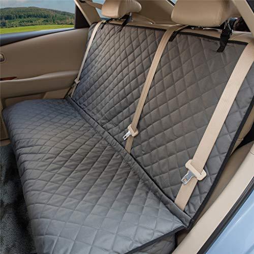 """ZQ Hunde-Autositzbezüge – rutschfester Rücksitzbezug für Kinder, wasserdicht, mit mittlerem Sicherheitsgurt, geeignet für Autos, LKWs und SUVs, 49"""" L x 56"""" W, grau"""