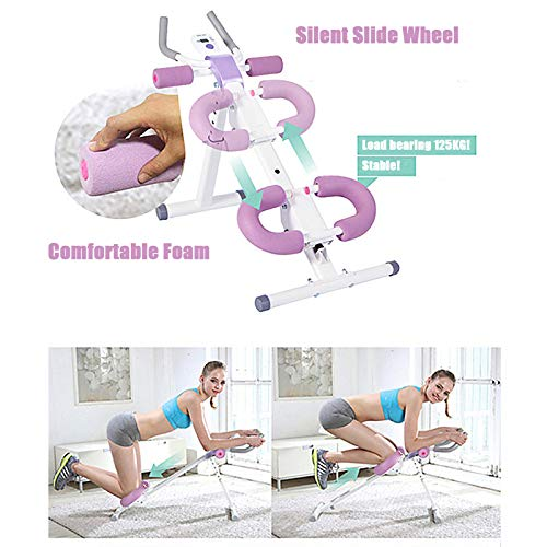 Fitness Ab Machine,Height Adjustable Whole Body Workout Stimulator with Silent Slide Wheel&U-Shaped Foam,Abdominal Workout Equipment for Home Gym,Leg,Thighs,Buttocks Shaper,Blue 2