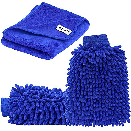 SYCEES 2 Stücke Wasserdicht Mikrofaser Autowaschhandschuh und 1 Stück...