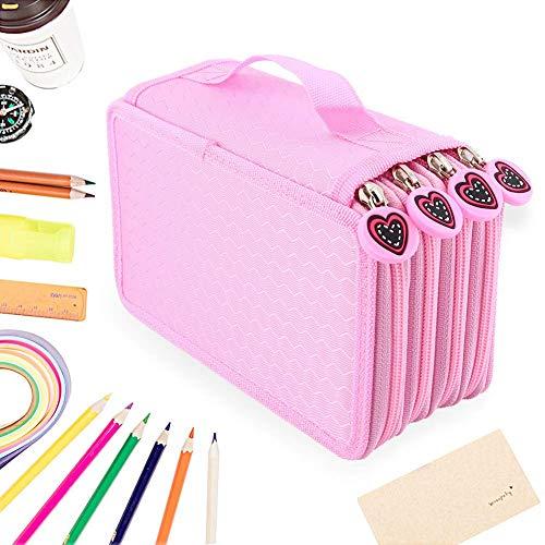 Yosoo Oxford pi strati Portacolori per 72 Matite Colorate Make Up pennello tasche Pencil Organizer Borsa Pen stazionaria Astuccio con grande capacit Rosa