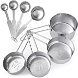 Tribal Cooking Measuring Cups and Spoons Set Stainless Steel - Premium Accurate Measuring Spoons & Kitchen Measuring Cups Set With Large, Clear Etched Measurement Markings - Set of 8
