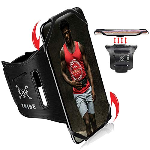TRIBE Running Phone Holder Sports Armband. iPhone Cellphone Arm Band for Women & Men. 360° Rotation & Detachable. Runners, Jogging, Exercise, Walking & Workouts. Cell Bands for iPhones, Galaxy & More!