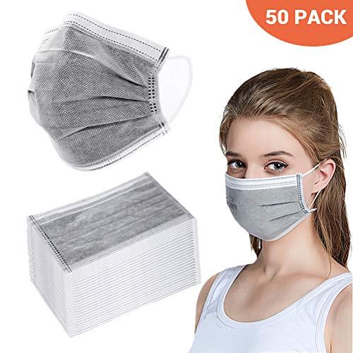 BSMEAN Maschere facciali usa e getta 50 pezzi filtro a carbone attivo a quattro strati maschere traspiranti per filtro...