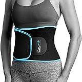 EzyFit Waist Trimmer Premium Exercise Workout Ab Belt for Women & Men Adjustable Stomach Trainer & Back Support, Black Blue Trim Fits 24-42'