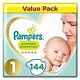 Pampers Lot de 144 couches de protection supérieure et confortables approuvées par British Skin Foundation Taille 1