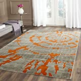 Safavieh Porcello Collection PRL7735F Modern Abstract Non-Shedding Living Room Bedroom Area Rug, 5'2' x 7'6', Light Grey / Orange