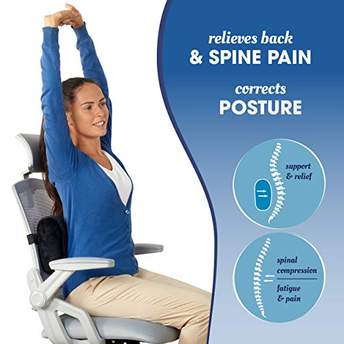 Product Image 8: Relax Support RS7-X Office Chair Back Support Pillow - Medium Firm Memory Foam Lumbar Cushion - Promotes Spinal Alignment & Better Posture - Non-Slip Strap, Washable Cover - Fits Wheelchair, Recliner