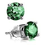 Sterling Silver May Birthstone Earrings 6mm Green Emerald Earring Stud Ear Studs Anniversary Birthday Mother's Gift SSE52