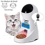 Sailnovo Dispensador Automático 4L de 4 Comidas Diarias para Mascotas Perros y Gatos, Comedero Automático con Grabación de Voz, Temporizador, Detección de Infrarrojos, Consumo de Energía Bajo