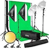 ESDDI - Kit de iluminación Profesional con Softbox y Paraguas - 4x85W - para Estudio de fotografía y vídeo - Fondo con Soporte (Blanco, Negro y Verde) - 3 Metros x 2.6 Metros con Bolsa de Transporte