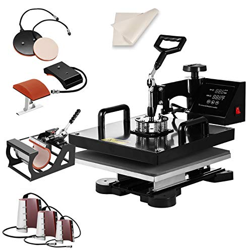 SmarketBuy Heat Press 15x15 Inch Digital Sublimation T-Shirt Heat Press Machine for Hat Mug Plate 8 in 1 Black (8-in-1)