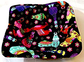 Microwaveable Bowl Potholder for Ice cream too! Llama Bright colors on Black