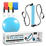 Multi-Functional Resistance Pilates Bar Kit with 3 Power Resistance Bands Portable Home Gym Workout Package, Toning Bar Yoga Pilates Stick for Total Body Workout Yoga Ball Included (Blue)