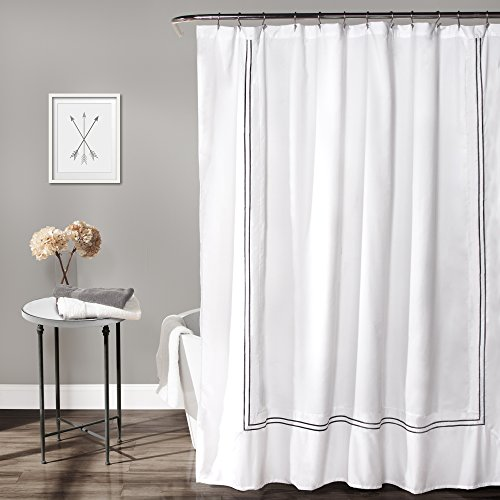 Lush Decor Hotel Collection Shower Curtain Fabric Minimalist Plain Style Bathroom Design, 72' x 72', White and Gray