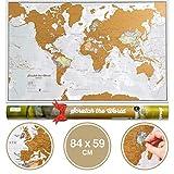 Carte du Monde à gratter XL - Grattez les endroits que vous avez visité - détails cartographiques - 84,1 cm (l) x 59,4 cm (h)