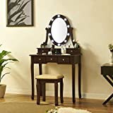 Fineboard, Brown Makeup Vanity Dressing Table Set with LED Lights Mirror and Stool with 5 Drawers