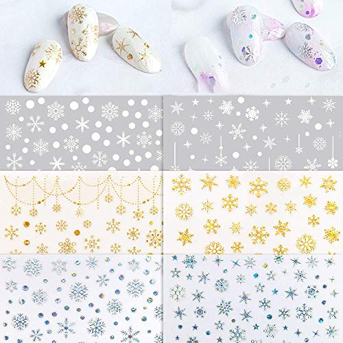 6 Sheets 3D Snowflake Nail Art Stickers, Self-Adhesive Big Snowflake Nail Decals in White Shining Gold and Silver Color for Holiday DIY Manicure and Gift