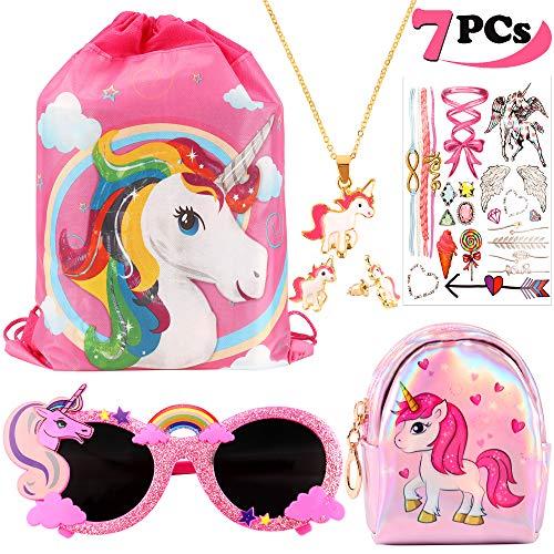 vamei Pack de 7 Unicornios Mochila con cordón Goodie Bags Unicorn Glasses Collar de cadena de aleación Earring Purse Wallet Stickers Favores de Regalo de Fiesta unicornios para niñas