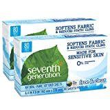 Seventh Generation Fabric Softener Sheets, Free and Clear, 80-Count (Pack of 2) Packaging May Vary