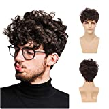 Swiking Men Brown Afro Wig Layered Short Fluffy Curly Synthetic Hair Halloween Cosplay Costume Full Wigs