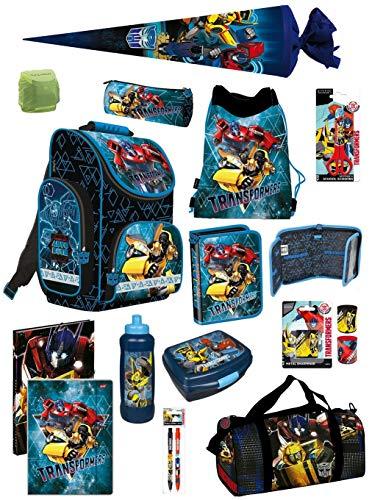 Familando Transformers PL Schulranzen-Set 15-TLG. mit Federmappe, Turnbeutel, Brotzeit-Dose, Trink-Flasche, Sporttasche, Schultüte 70cm und Regenschutz Blau