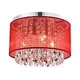 MO&OK Mini Chandeliers 3-Light red Gauze Crystal Ceiling Lighting for Girl's Bedroom