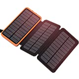 FEELLE 24000mAh Solar Power Bank with 2 USB ports Waterproof portable external battery Compatible with smartphones, tablets and more