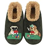 Snoozies Mens Pairable Slippers | Comfortable Slippers for Men | Fuzzy Mens Slipper Socks | Soft Sole Mens House Slippers | Poker Dogs | Large