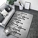 Indoor Super Absorbs Doormat Antique Decor,Silhouettes of Old Keys Hanging Chain Links Unlocking Secure Home Opener 48'x 72' Area Rugs