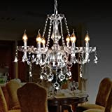 CRYSTOP Classic Vintage Crystal Candle Chandeliers Lighting 6 Lights Pendant Ceiling Fixture Lamp for Elegant Decoration D23.6' X L47.2'
