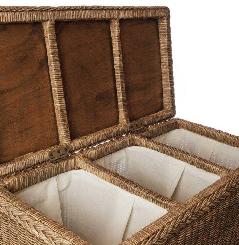 URBANARA Wäschekorb 'Java' - 100% Rattan, Wäschebox rechteckig mit Klappdeckel und drei Fächern - Wäschesammler (78 x 40 x 68 cm, Weiß)